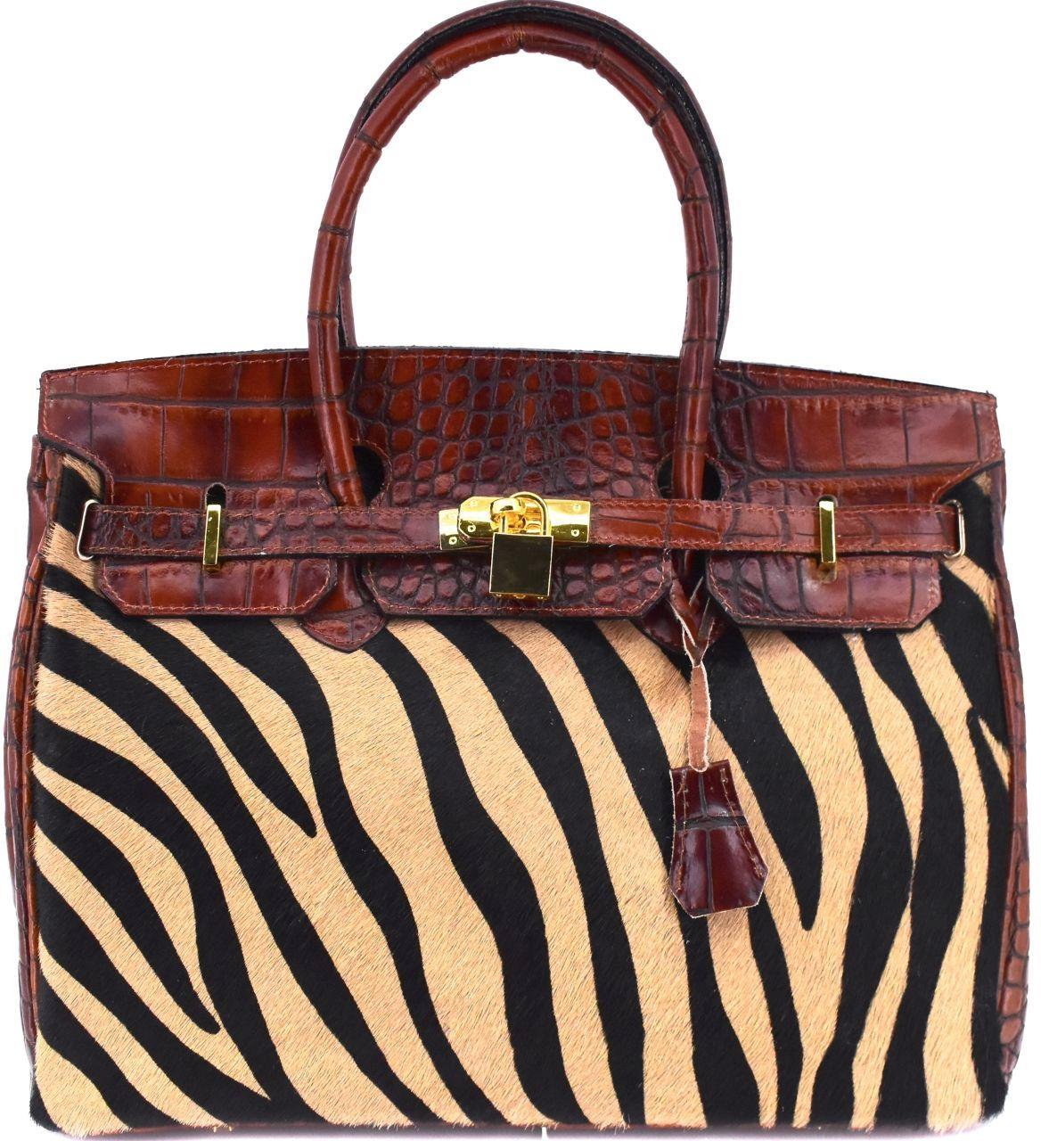 Luxusní dámská kožená kabelka Arteddy - hnědá/béžová 24856