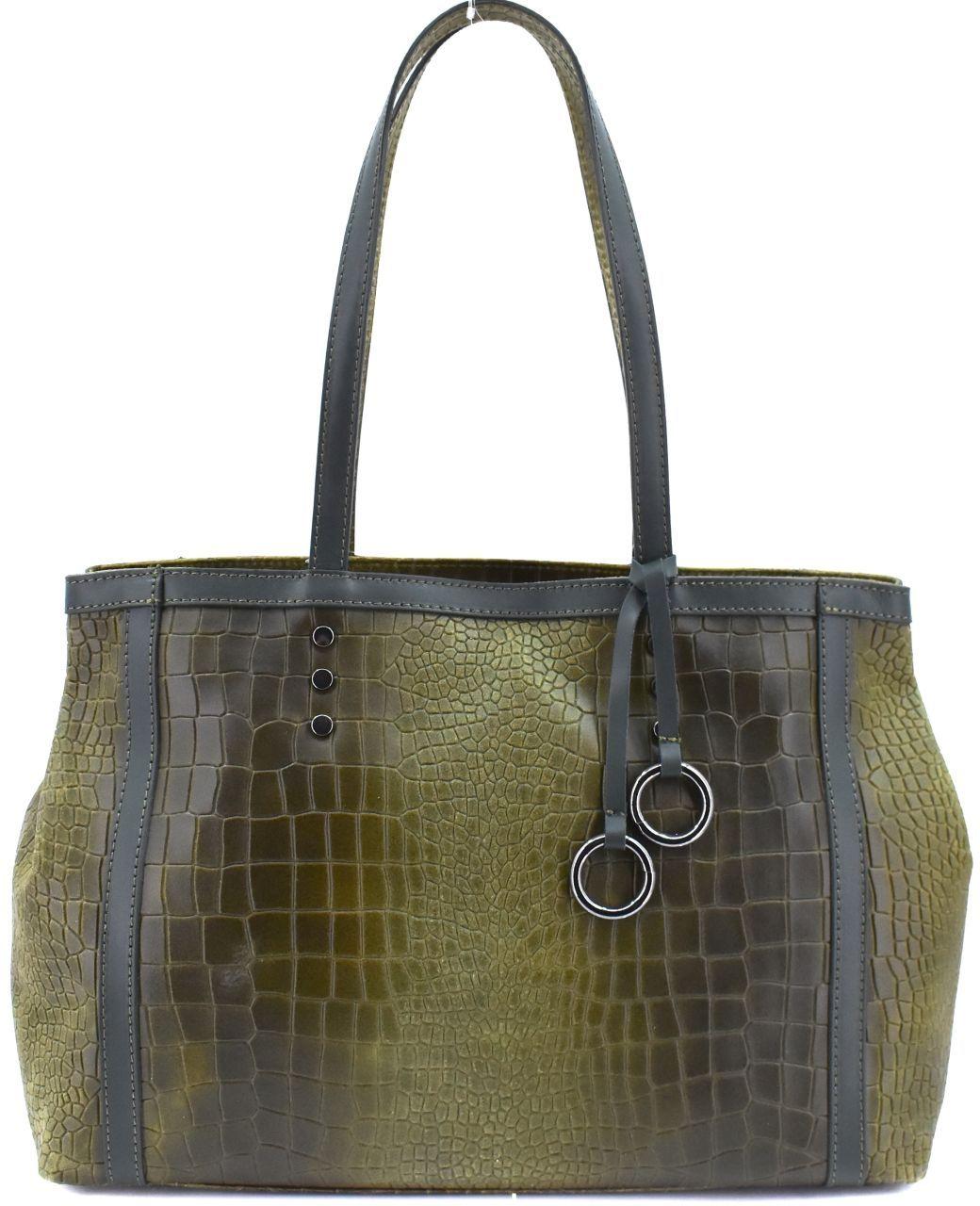 Dámská kožená kabelka Arteddy - zelená 31034