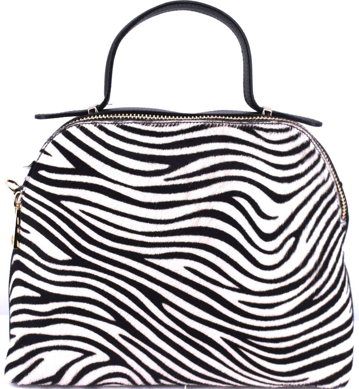 Luxusní dámská kožená kabelka Shopper (zebra) - černá/bílá 28886