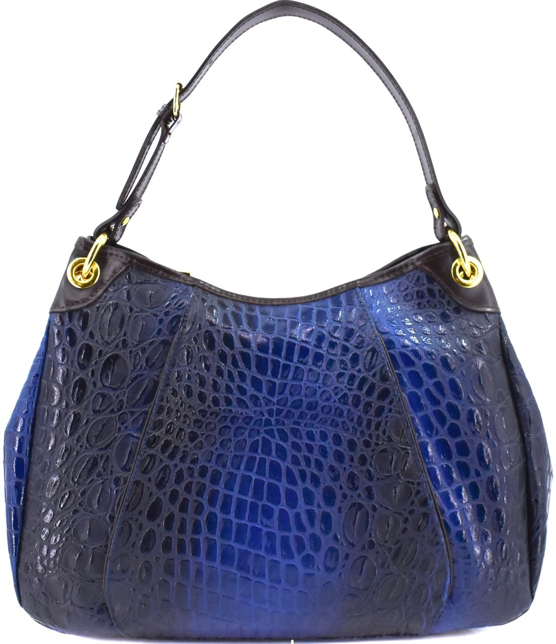 Dámská kožená kabelka croco Arteddy - tmavě modrá 22598