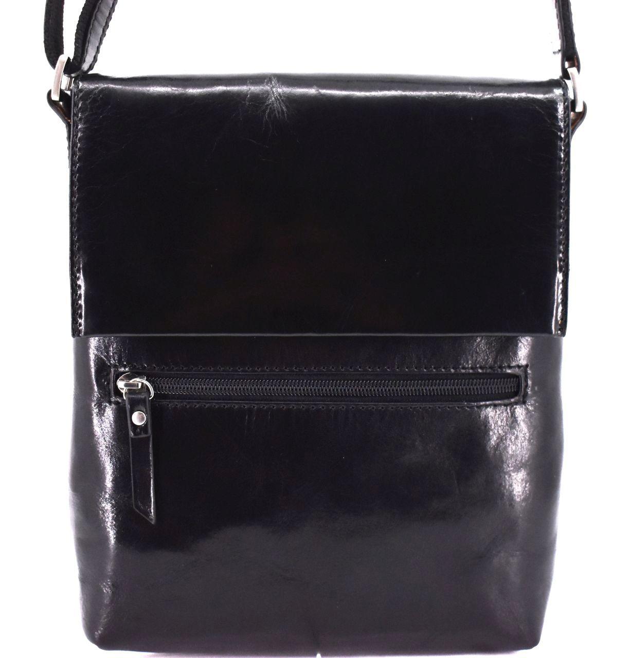 Pánská kožená taška přes rameno - černá