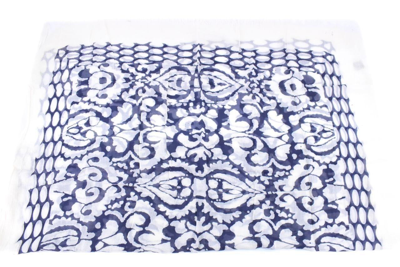 Dámský šátek s potiskem - modrá/bílá
