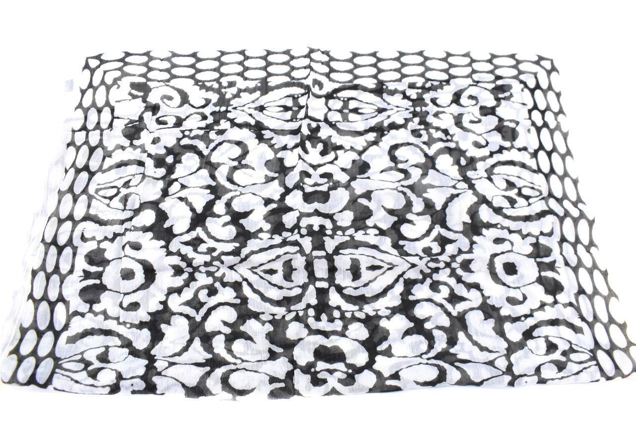 Dámský šátek s potiskem - černá/bílá