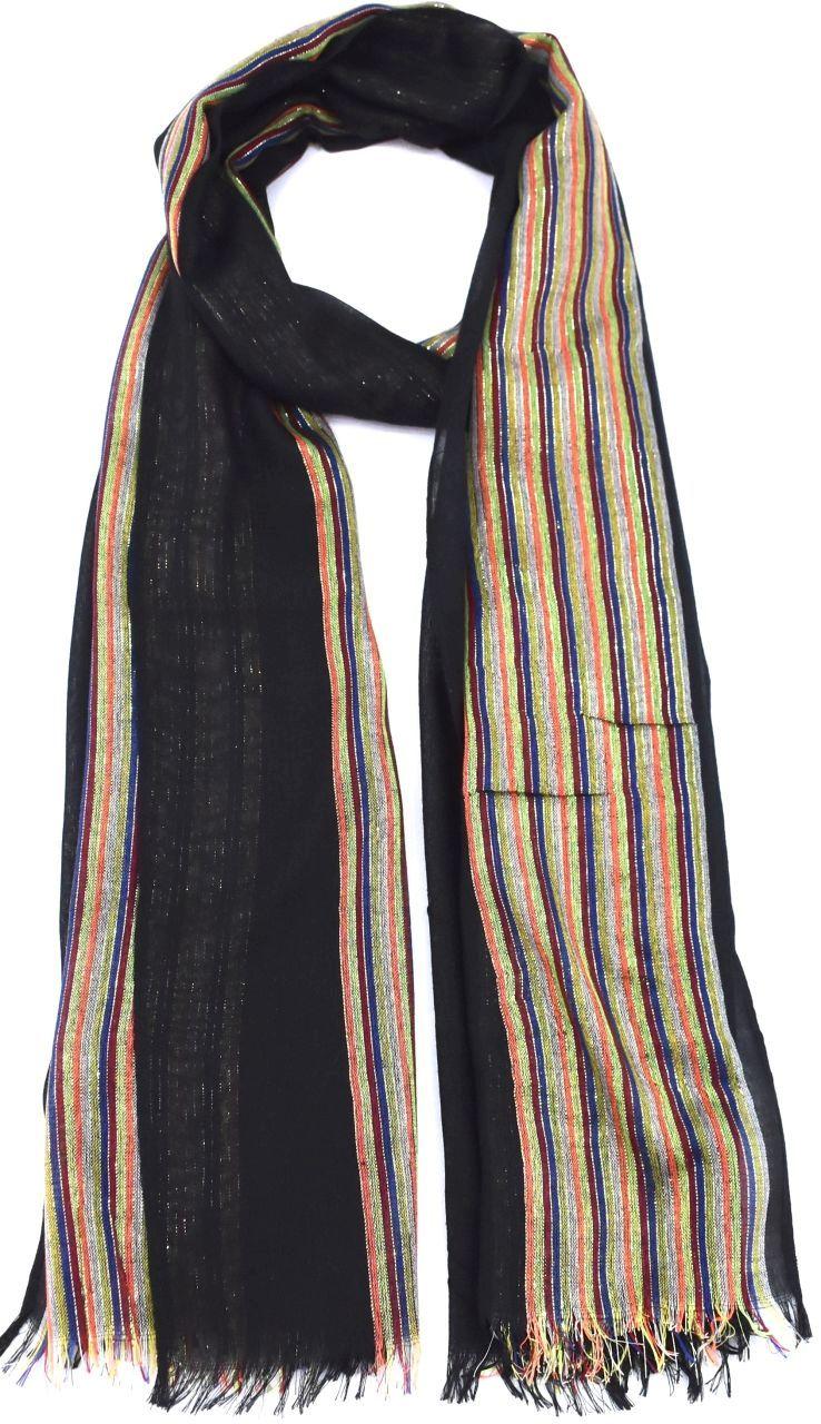 Moderní pruhovaný šátek - černá