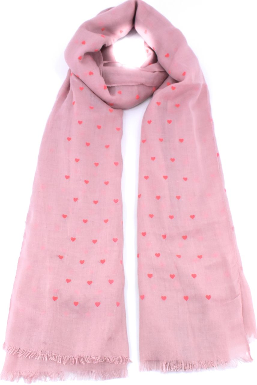 Moderní dámský šátek s potiskem - růžová/pudrová