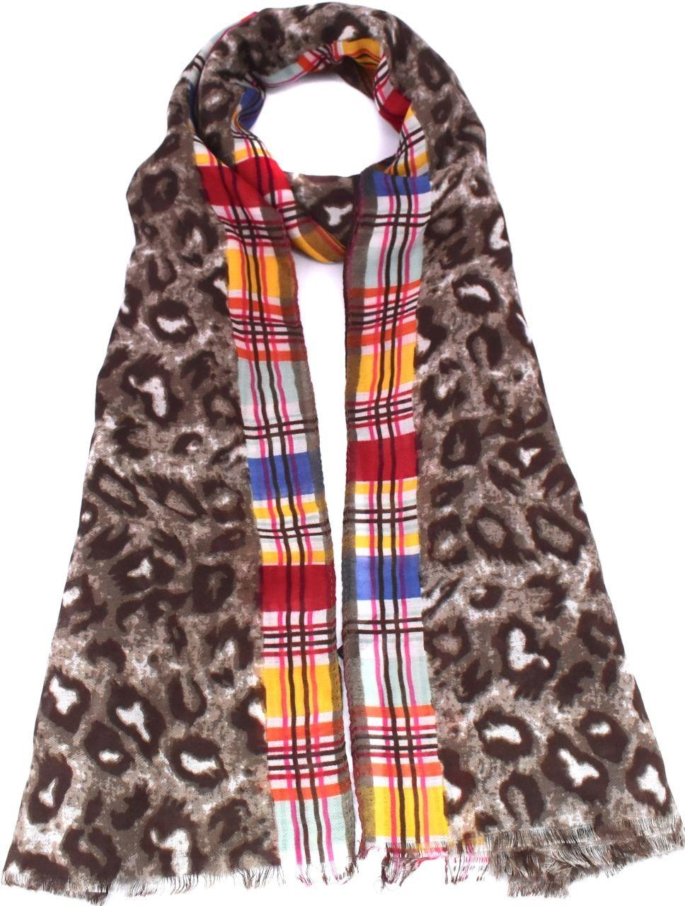 Moderní dámský šátek s potiskem - béžová