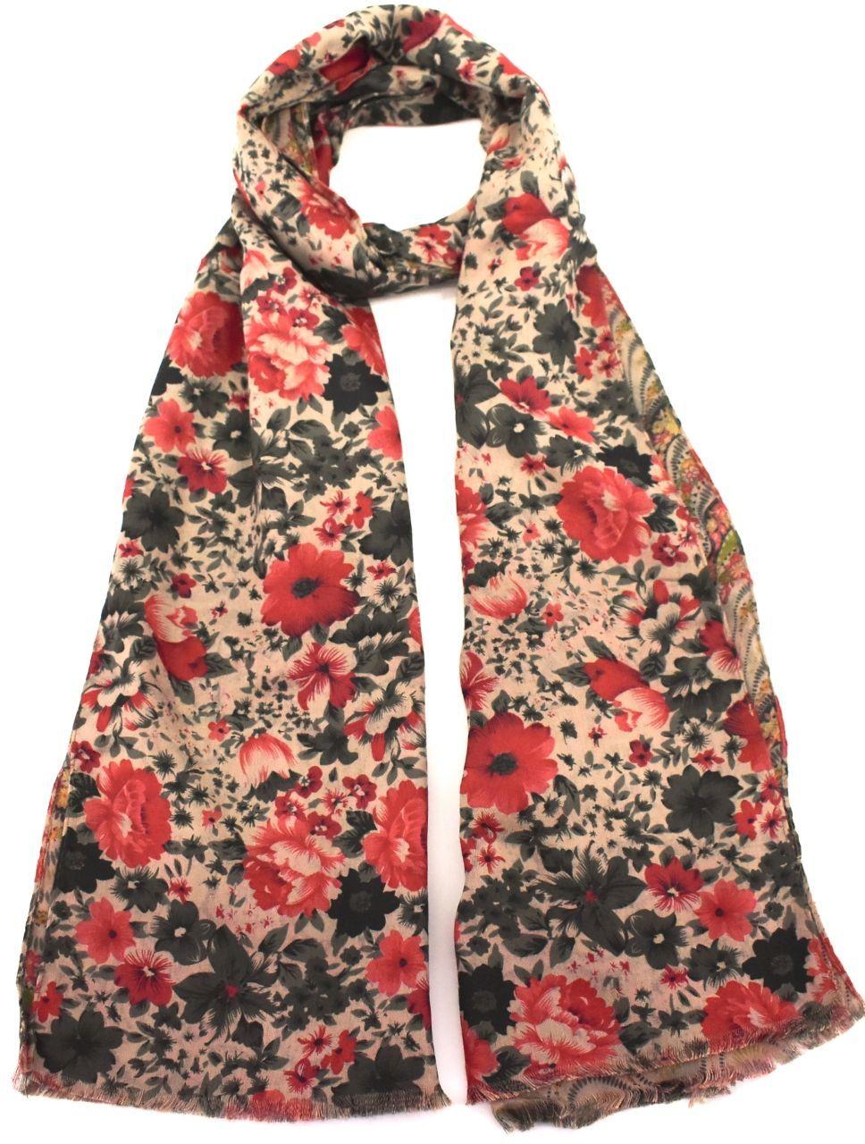 Dámský šátek  s květovaným vzorem - béžová