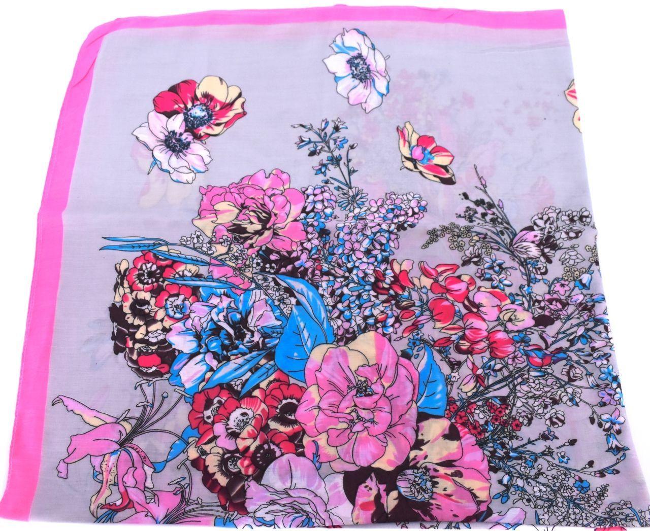 Dámský šátek  s květovaným vzorem - šedá