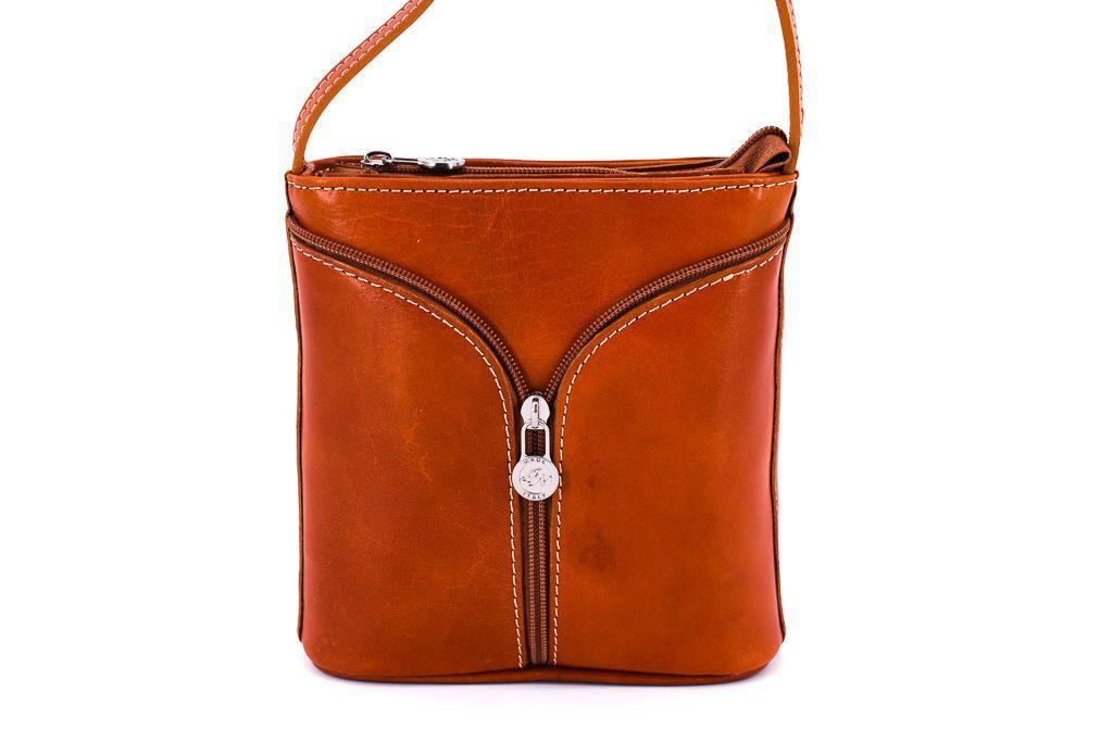 Dámská kožená kabelka crossbody Arteddy - camel 28932