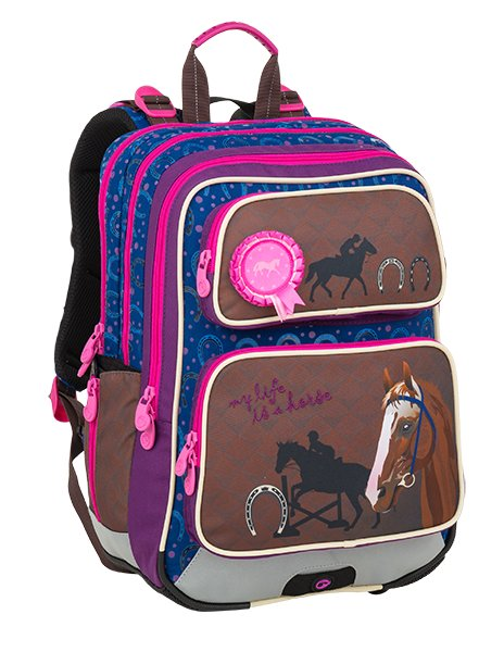 Dívčí školní batoh pro prvňáčky v setu s penálem a sáčkem BAGMASTER Malý SET GALAXY 9 B 8591805010155