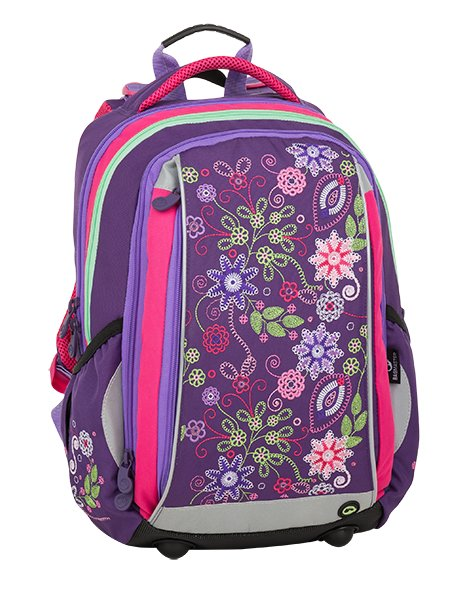 Dívčí školní batoh pro prvňáčka BAGMASTER MERCURY 9 A VIOLET/PINK/GREEN