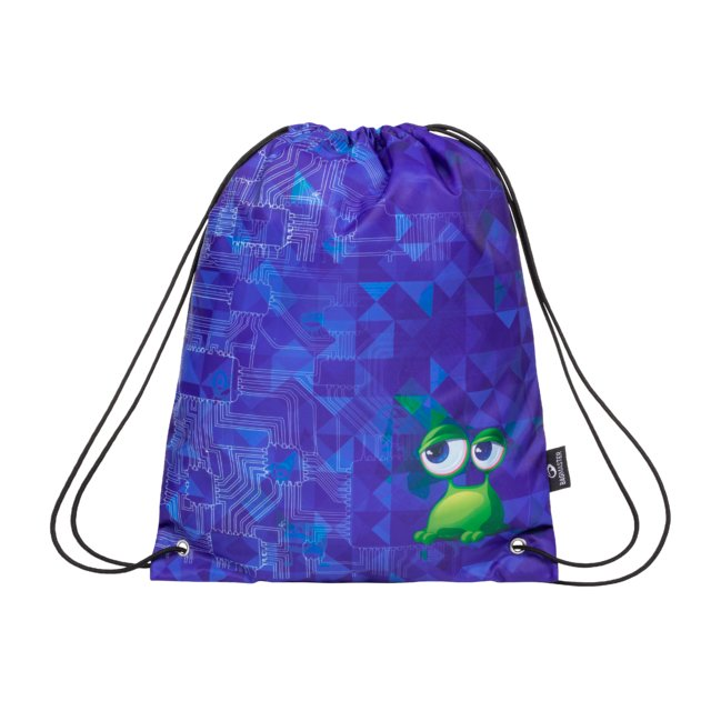 Klučičí sáček na sport/přezůvky BAGMASTER SHOES MARK 20 B BLUE/GREEN/BLACK, mimozemšťan, ufo, stylový pro kluky, modrá, design, 8591805010827