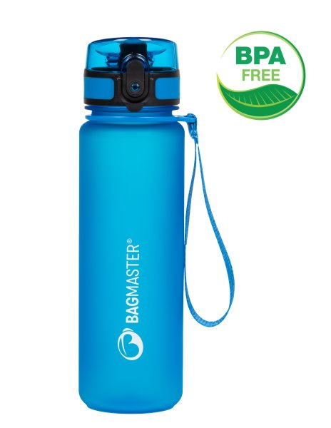 Bagmaster Atestovaná láhev na pití BOTTLE 20 B BLUE, novinka, modrá, látkové poutko, Automatické otevírání s pojistkou proti vylití