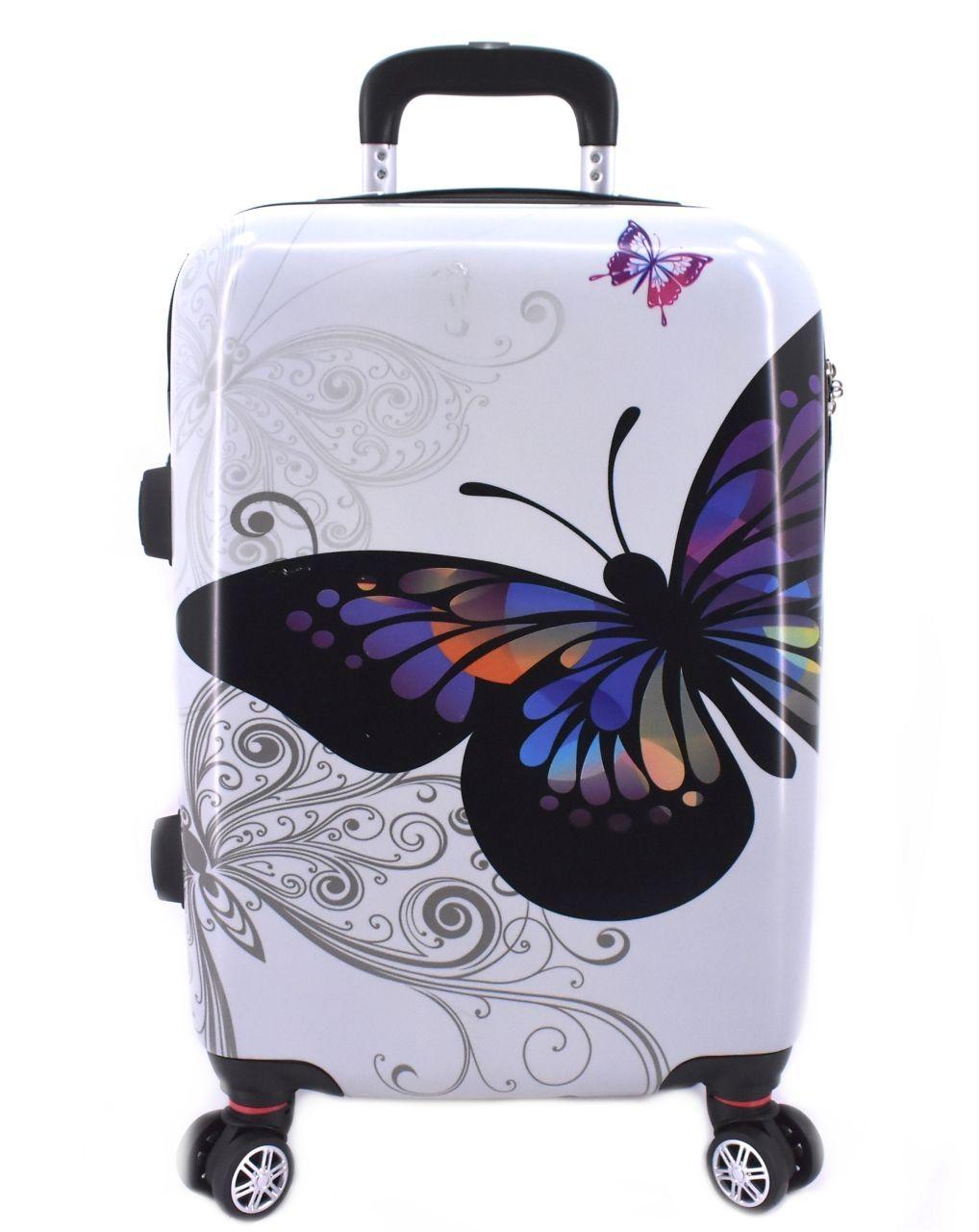Cestovní palubní kufr na čtyřech kolečkách Arteddy - motýl/bílá (S) 40l 601 (S)