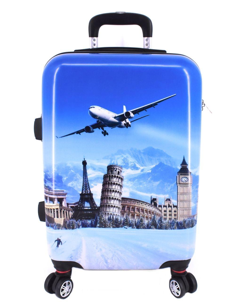 Cestovní kufr skořepinový na čtyřech kolečkách Arteddy - Letadlo (L) 90l 601 (L)