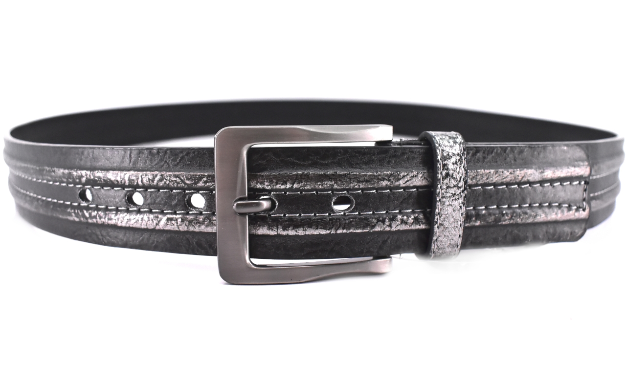 Široký opasek do Jeans - černa/stříbrná / 135 38621