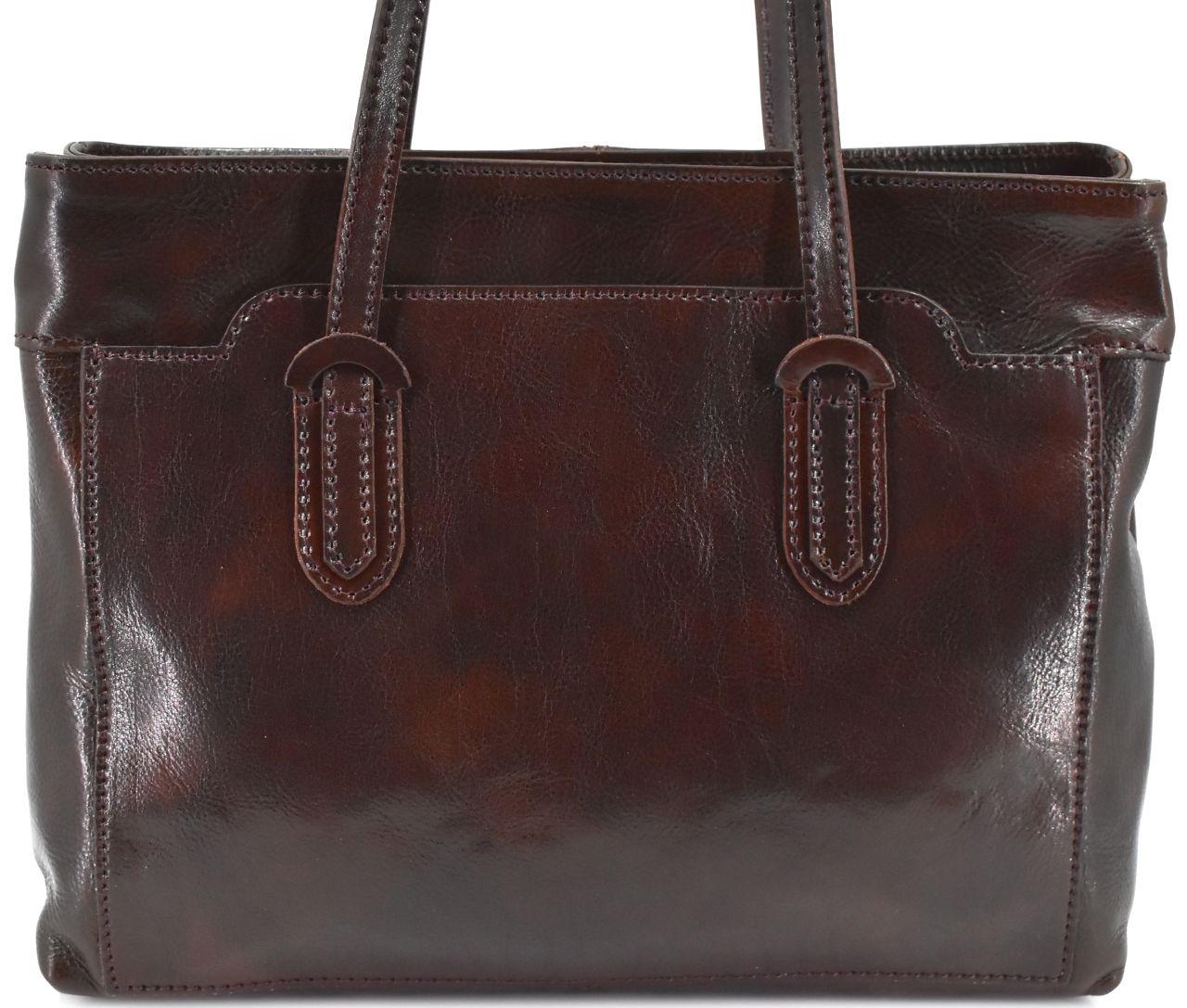 Dámská kožená kabelka Arteddy - tmavě hnědá 29627