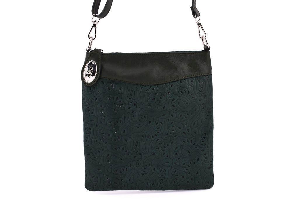 Dámská kožená kabelka crossbody Arteddy - tmavě zelená 35867