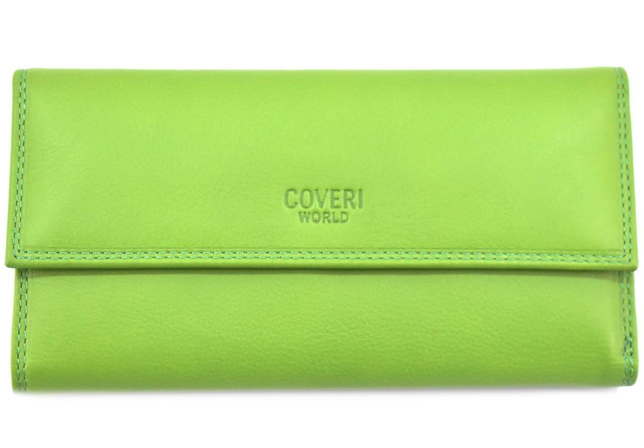 Dámská kožená peněženka z pravé kůže Coveri - světle zelená 27770