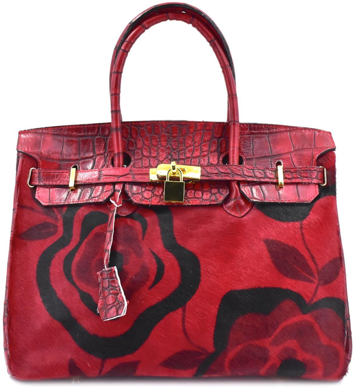 Luxusní dámská kožená kabelka Arteddy - tmavě červená 24856