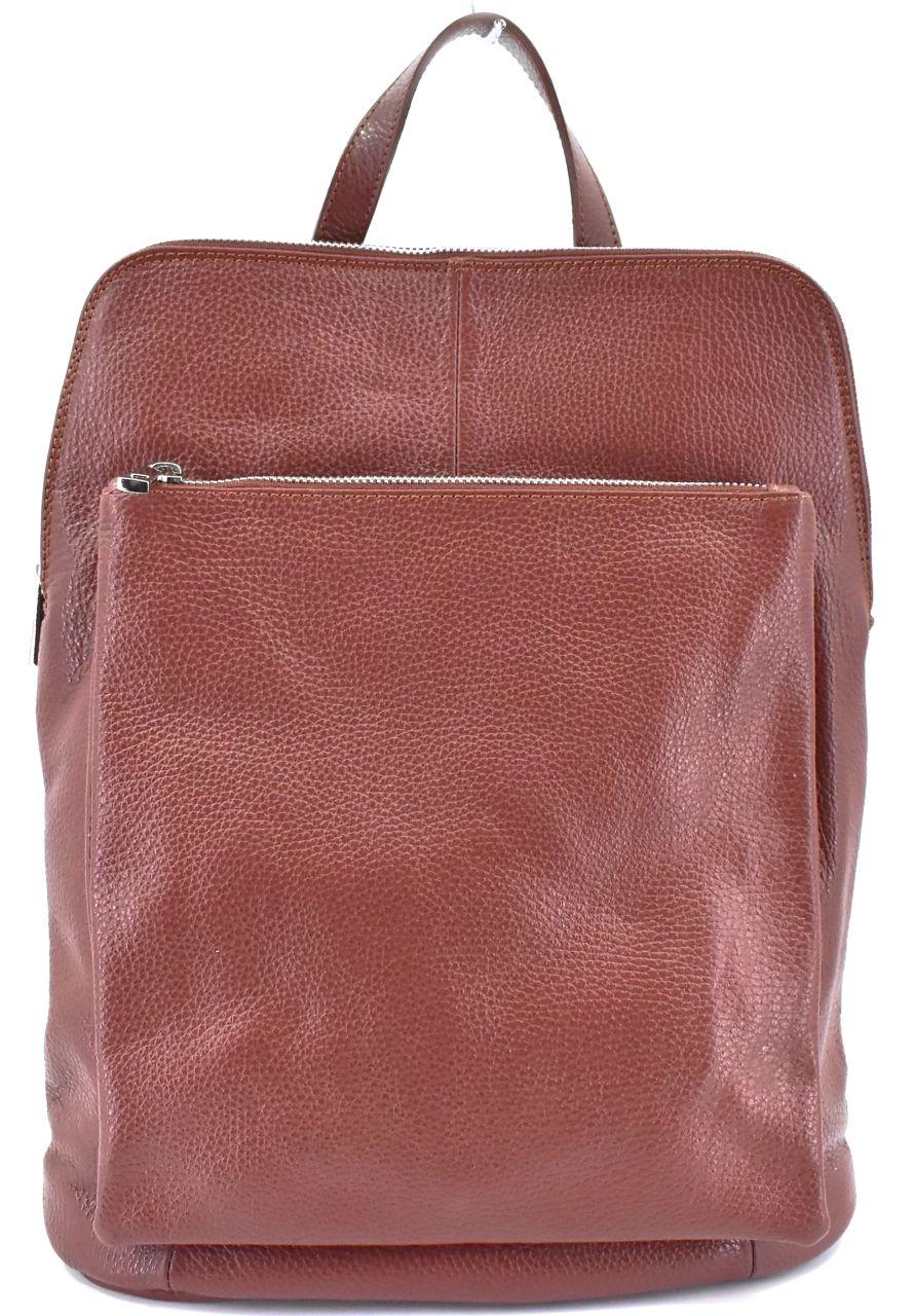 Dámský kožený batoh a kabelka v jednom / Arteddy - hnědá 36933