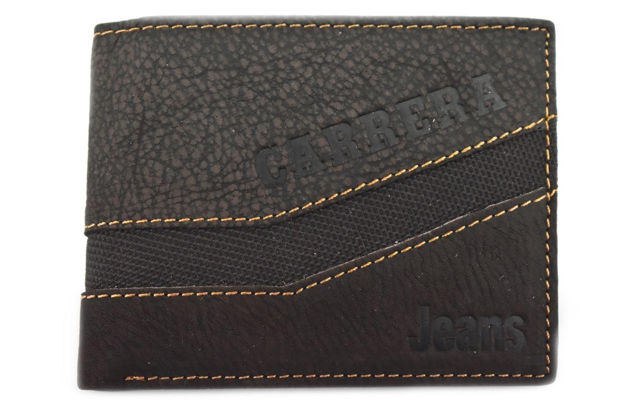 Pánská kožená peněženka z pravé kůže Carrera Jeans - tmavě hnědá 31095