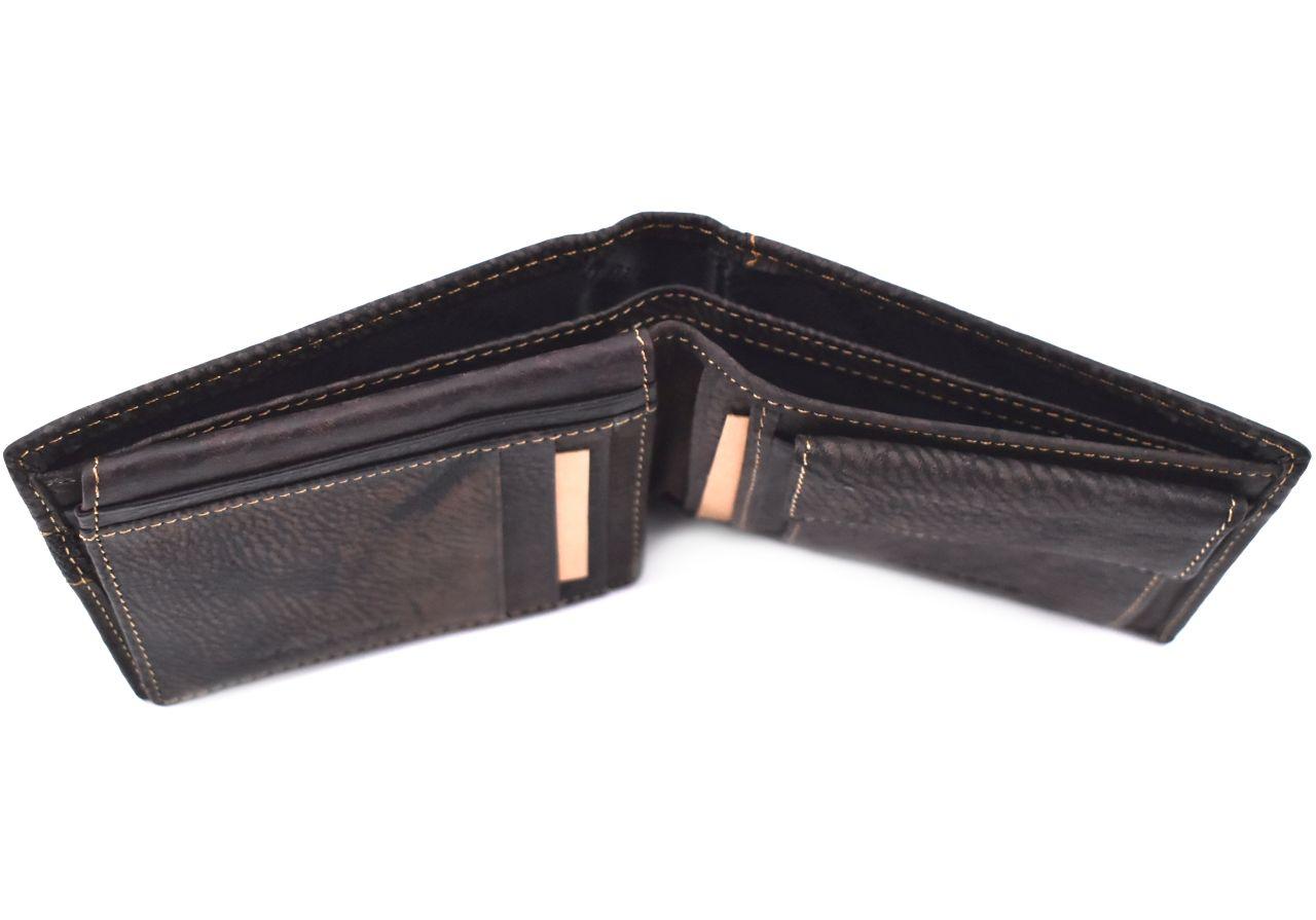 Pánská kožená peněženka z pravé kůže Carrera Jeans - tmavě hnědá