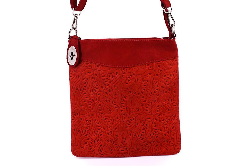 Dámská kožená kabelka crossbody Arteddy - červená 35867