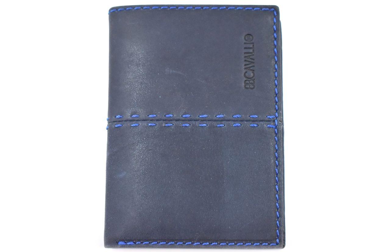 Pánská kožená peněženka z pravé kůže na výšku B.cavalli - tmavě modrá 30589