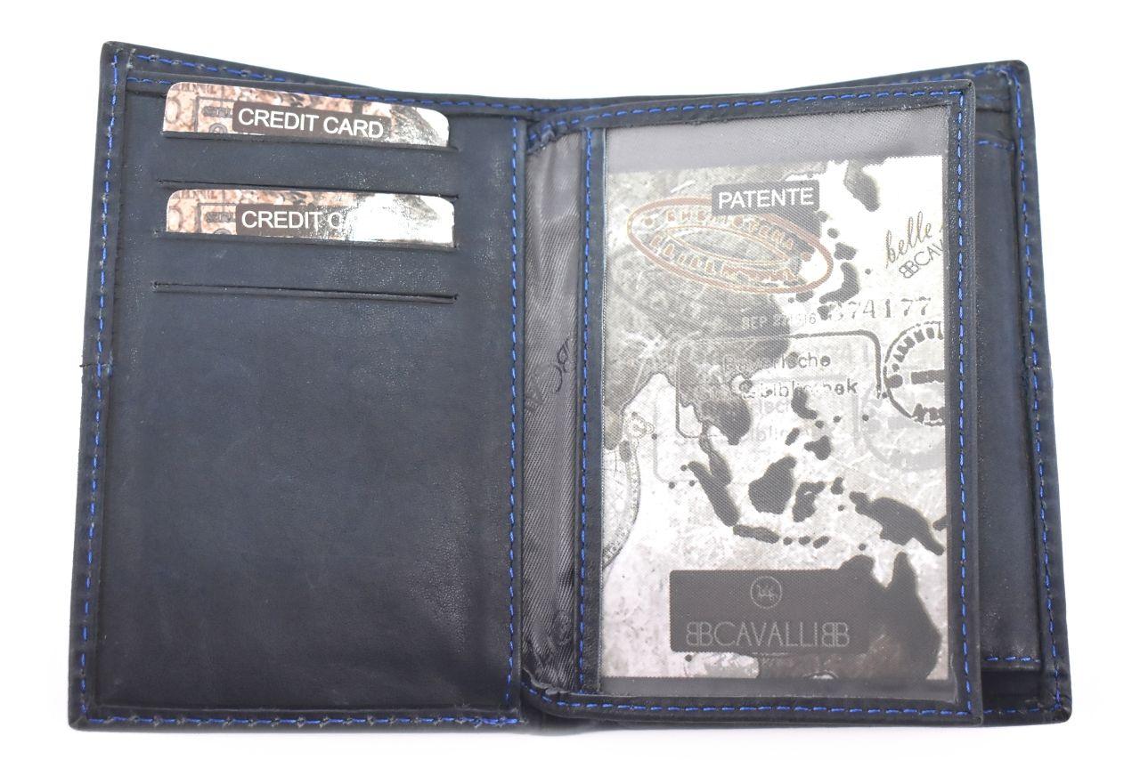 Pánská kožená peněženka z pravé kůže na výšku B.cavalli - tmavě modrá