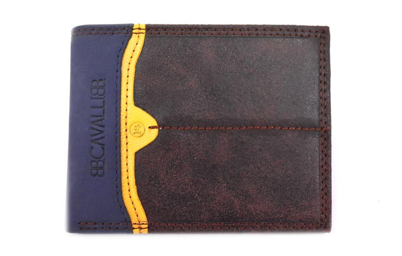 Pánská moderní kožená peněženka z pravé kůže B.Cavalli - tmavě hnědá 27788