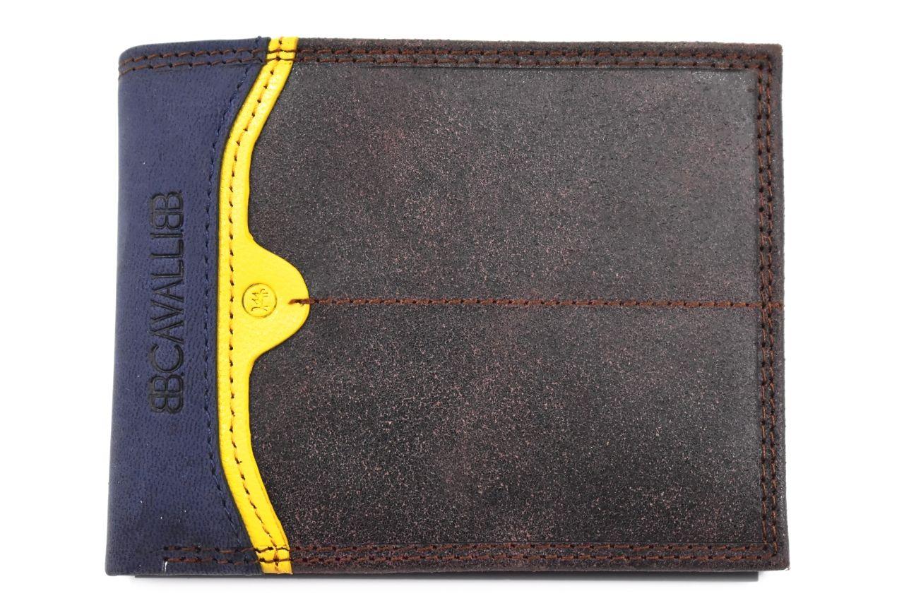 Pánská moderní kožená peněženka z pravé kůže B.Cavalli - tmavě hnědá 27789