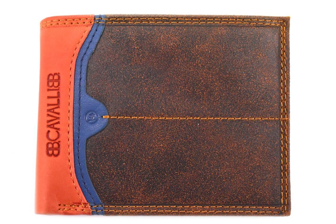 Pánská moderní kožená peněženka z pravé kůže B.Cavalli - hnědá 27789