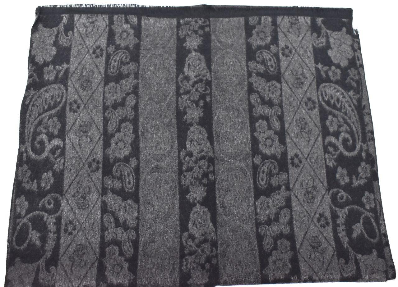 Modení dámská vzorovaná šála - tmavě šedá