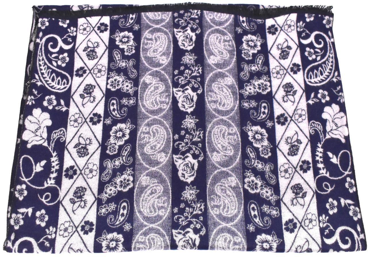 Modení dámská vzorovaná šála - tmavě modrá