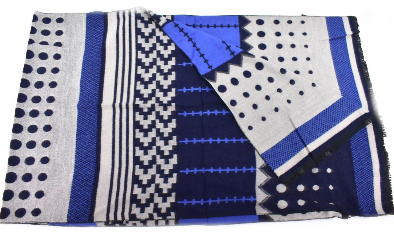 Modení dámská vzorovaná šála - modrá