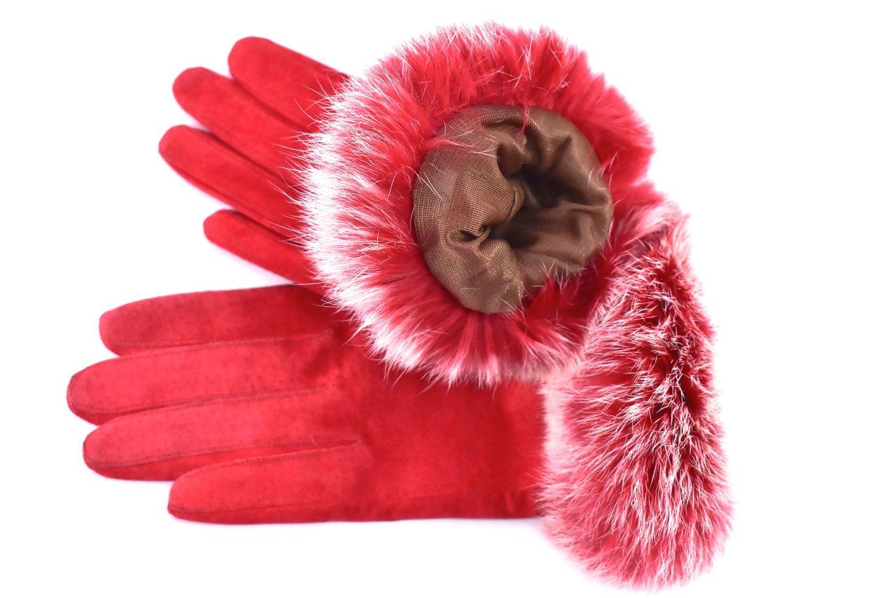 Dámské kožené rukavice ozdobené kožešinou - červená (L)