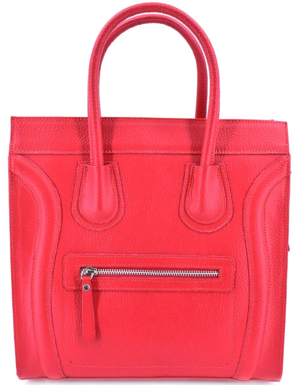 Luxusní dámská kožená kabelka Shopper - červená 23668
