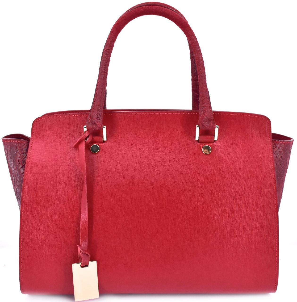 Luxusní dámská kožená kabelka Shopper - červená 31015