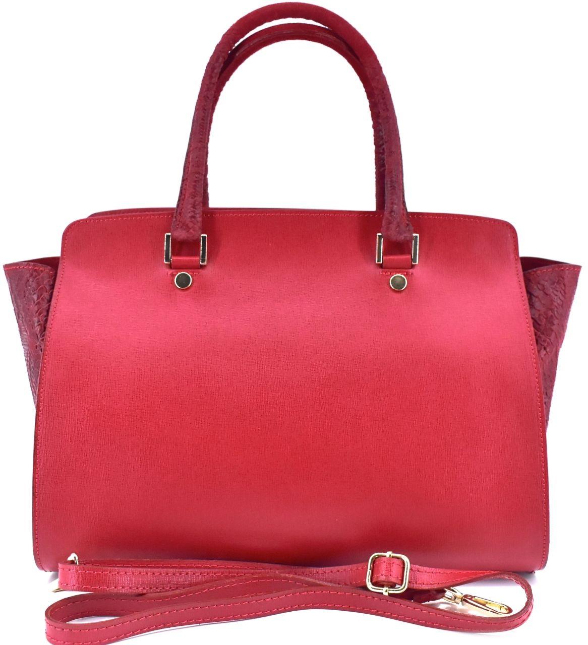 Luxusní dámská kožená kabelka Shopper - červená