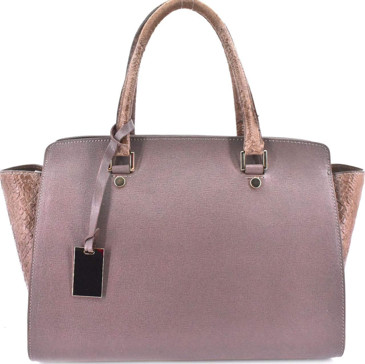 Luxusní dámská kožená kabelka Shopper - taupe 31015