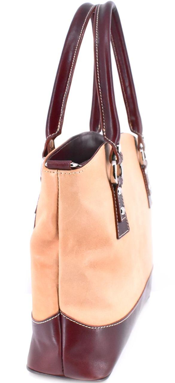 Dámská kožená kabelka - béžová/hnědá