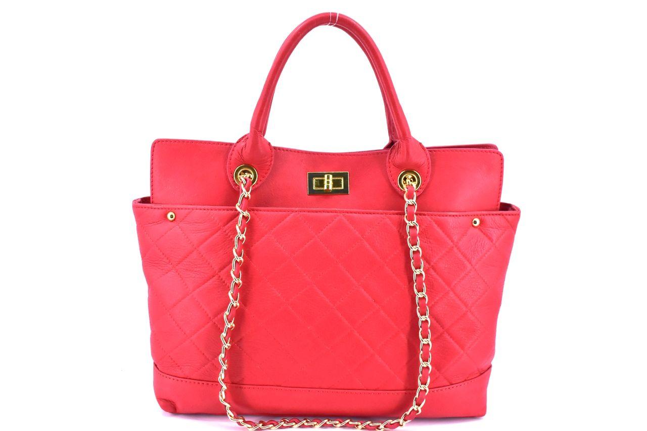 Dámská kožená kabelka - červená 25952