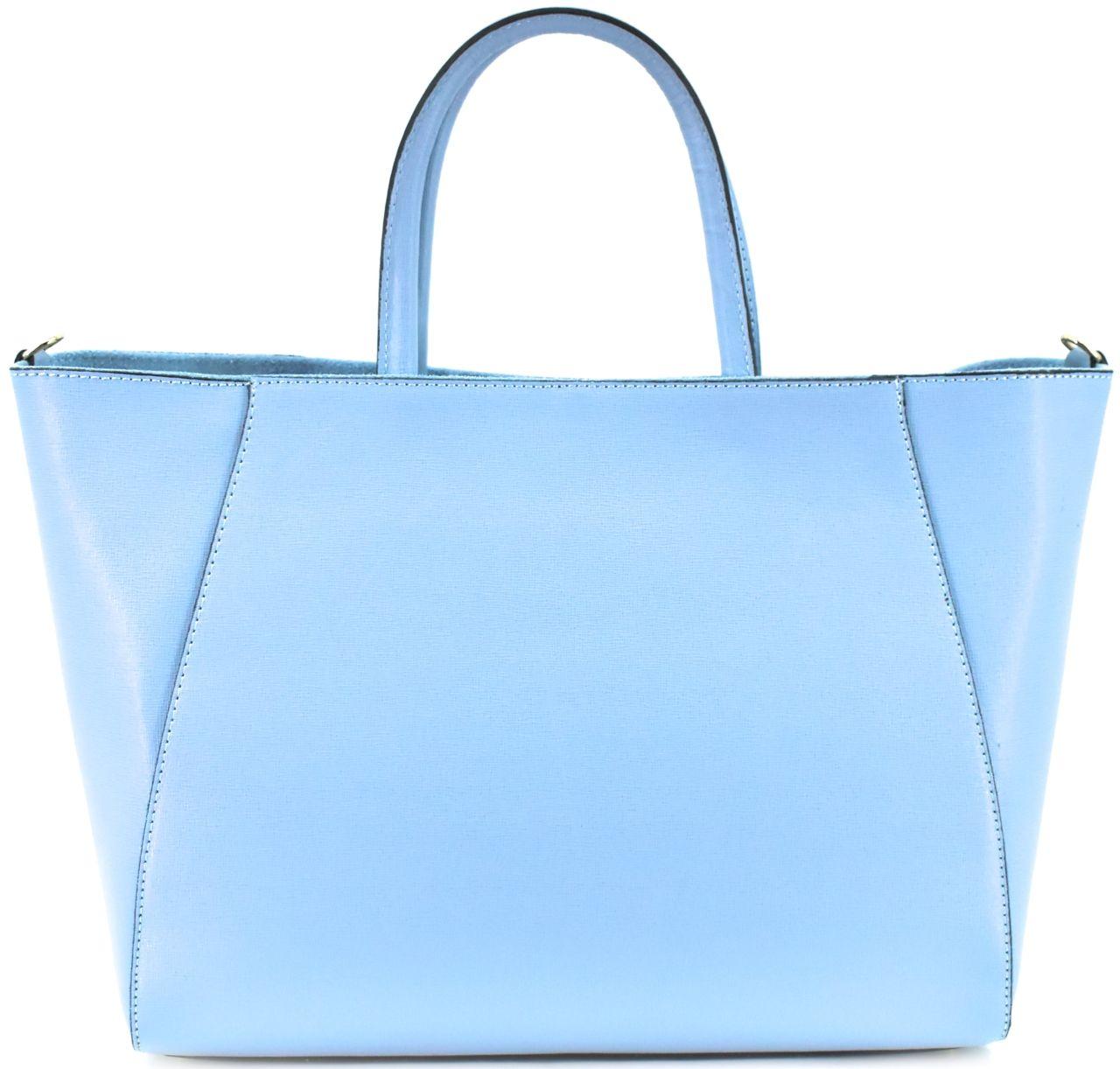 Levně Moderní Shopper dámská kožená kabelka Arteddy - světle modrá