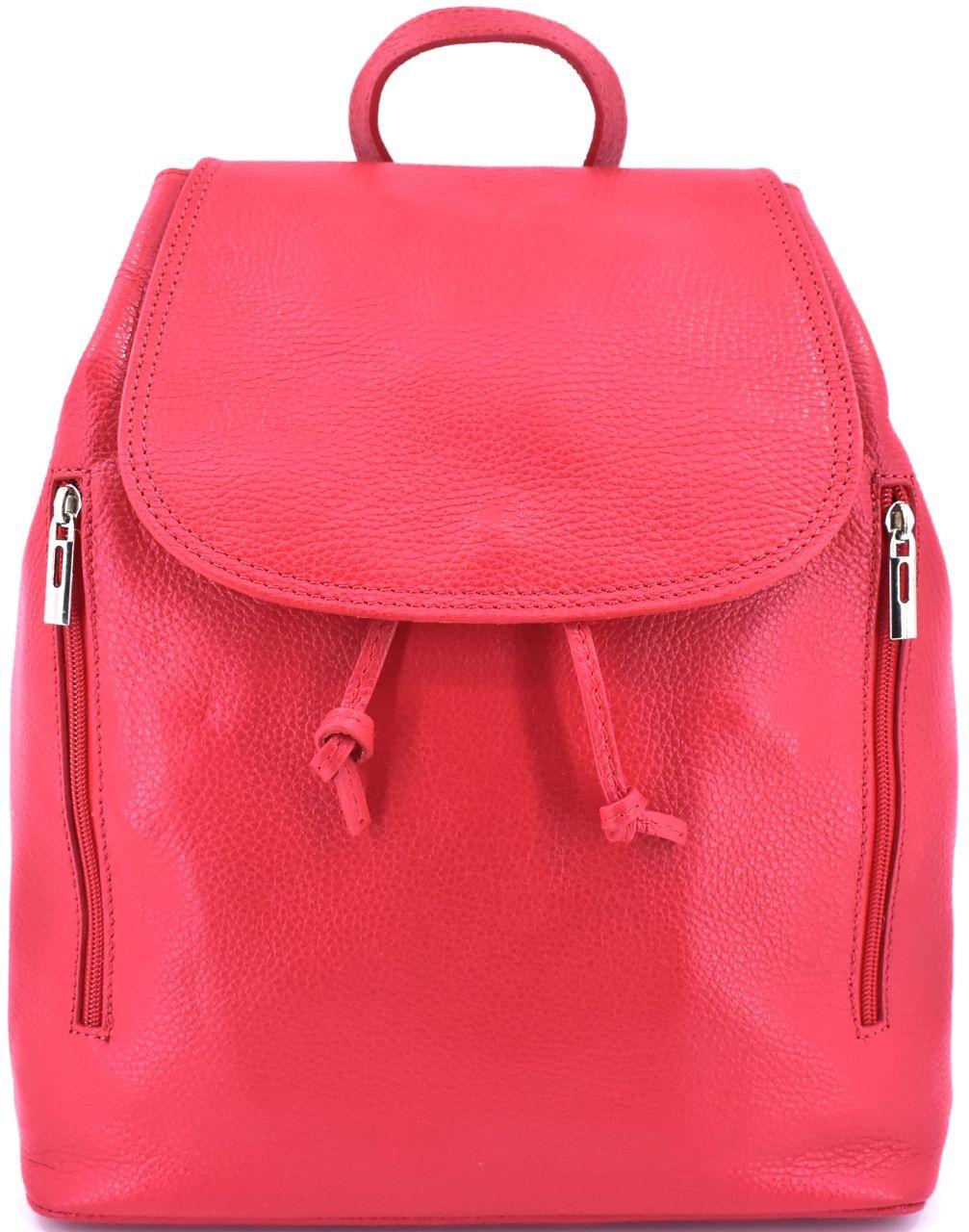 Levně Dámský kožený batoh s klopnou Arteddy - světle červená