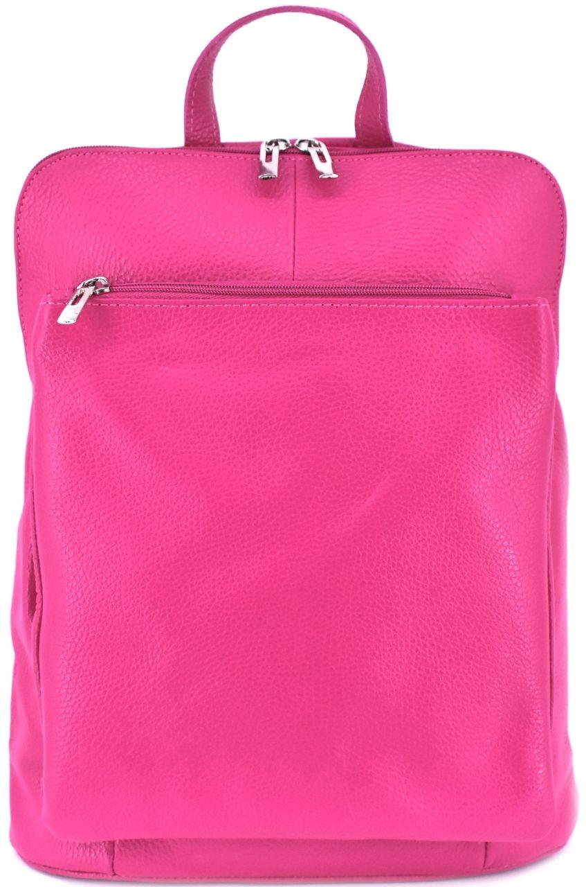 Dámský kožený batoh a kabelka v jednom / Arteddy - fuchsiová 36933