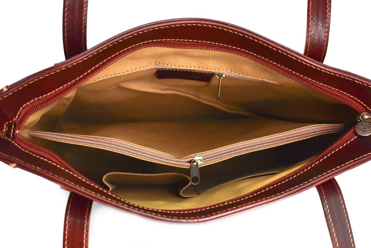 Dámská kožená kabelka Arteddy - tmavě hnědá 29621