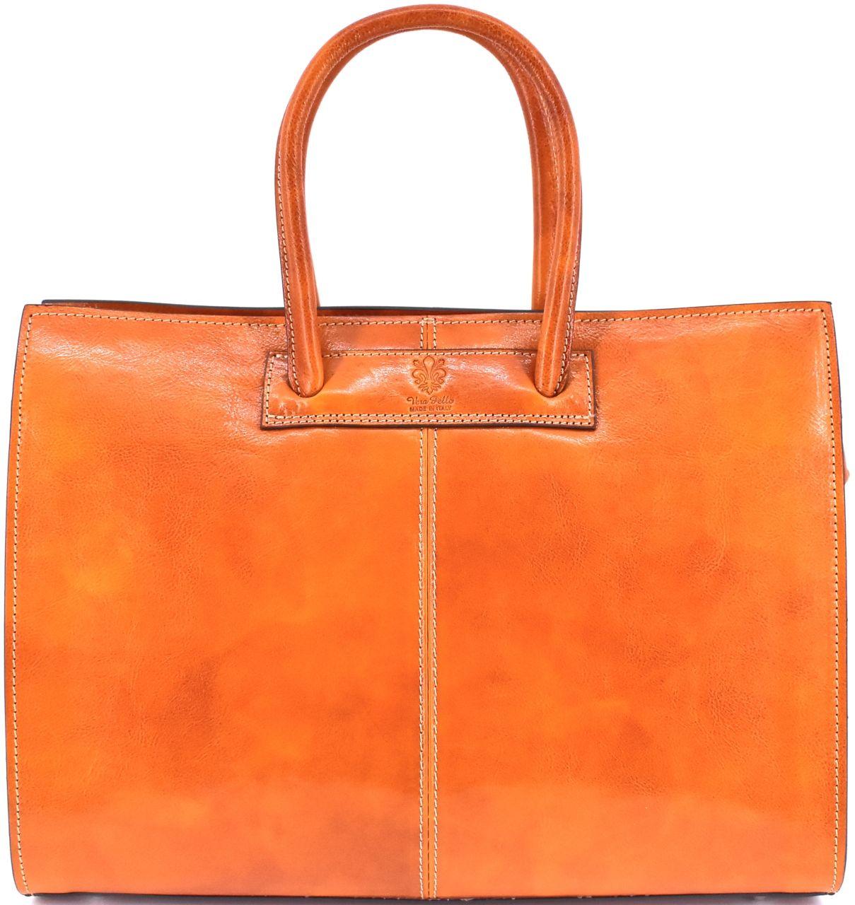 Levně Luxusní dámská kožená kabelka Arteddy - camel
