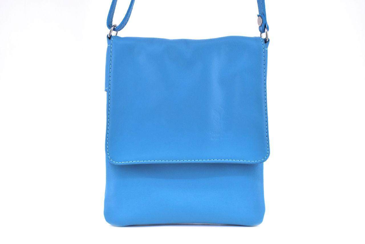 Levně Dámská kožená crossbody kabelka s klopnou Arteddy - modrá 2