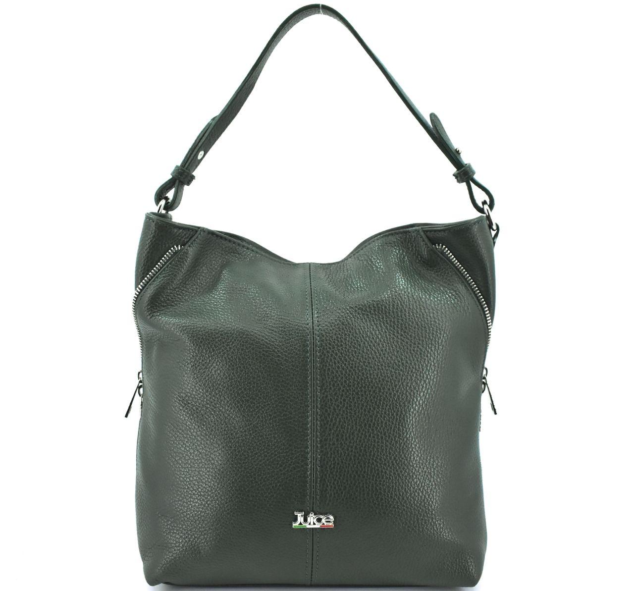 Dámská kožená kabelka Juice - tmavě zelená 112172